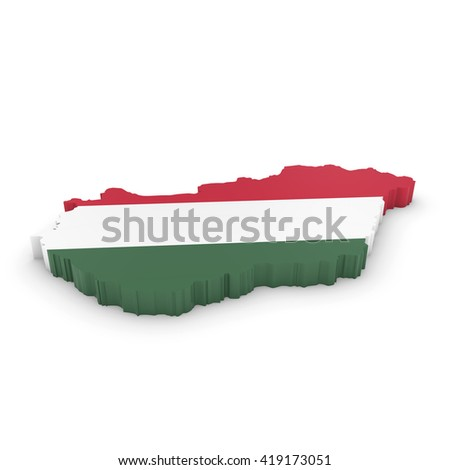 3D Illustration Map Outline of Hungary with the Hungarian Flag