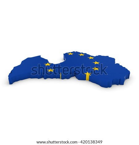 3D Illustration Map Outline of Latvia with the European Union Flag - stock photo