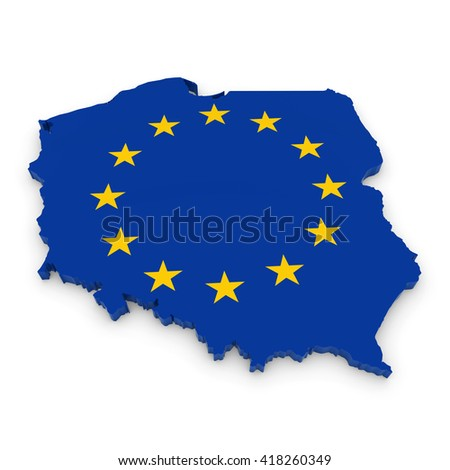 3D Illustration Map Outline of Poland with the European Union Flag - stock photo
