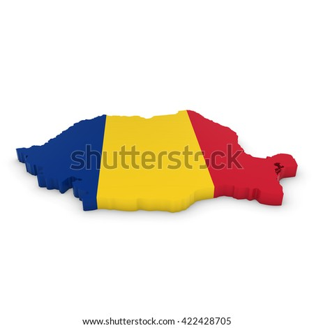 3D Illustration Map Outline of Romania with the Romanian Flag - stock photo