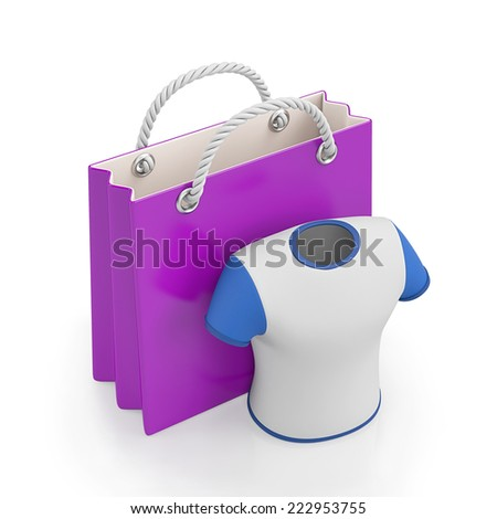 3d illustration. Men's Sport T-shirt and a paper bag - stock photo