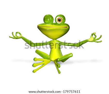 3d illustration merry green frog with big eyes - stock photo