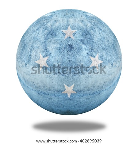 3D illustration Micronesia flag pattern on stone circle shape texture - stock photo