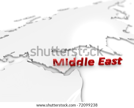 3d illustration, Middle east region map. on white. - stock photo