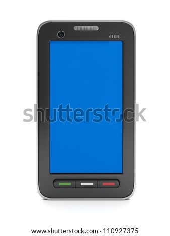 3d illustration: Mobile technologies and devices. Mobile phone with blank screen