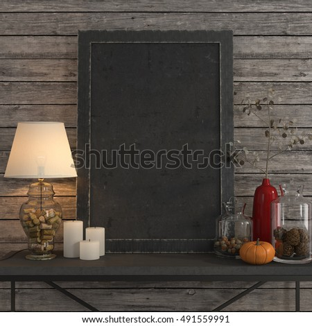 3d illustration. Mock up poster frame on the metal table with a table lamp and an autumn decor
