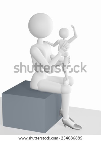 3d - illustration, model of human behavior, mom sits on the cube and holding a happy and cheerful child, on a white background with soft shadows.