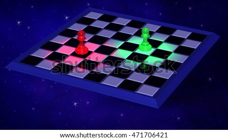 3D Illustration. Modern Chessboard with blue and green illuminated pawns on background of space