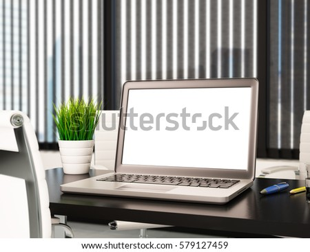 3d illustration modern office with blank laptop screen. Mockup