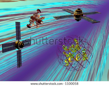 3D illustration, money transfers over the net, satellite connections worldwide.  Communication , technology concept - stock photo
