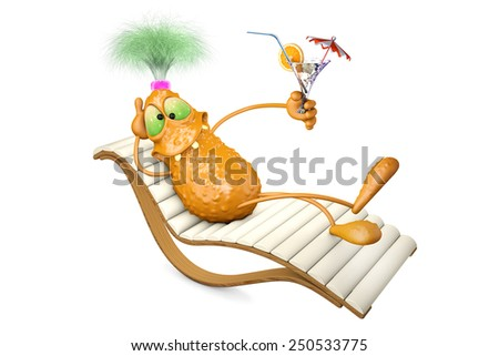 3d illustration monster lies on a chaise lounge and has a rest - stock photo