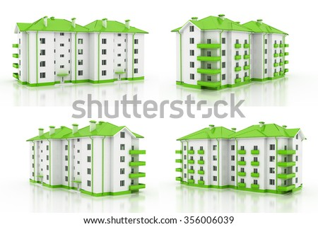 3d illustration. Multi-storey building, the architecture. 4 views. - stock photo