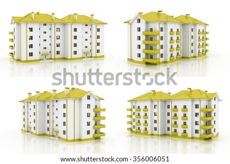 3d illustration. Multi-storey building, the architecture. 4 views. Yellow style. - stock photo