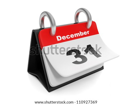 3d illustration: New Year items. Calendar turns the page on December 31 - stock photo