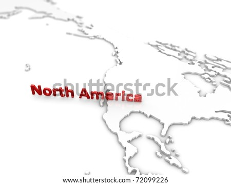 3d illustration, North America region map. on white. - stock photo