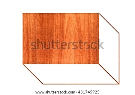 3D illustration,oblique brown wood ,box on white background - stock photo