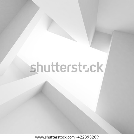 3d Illustration od White Interior Design. Empty Room with Window. Abstract Architecture Background - stock photo