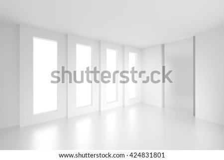 3d Illustration od White Interior Design. Empty Room with Window. Abstract Architecture Background