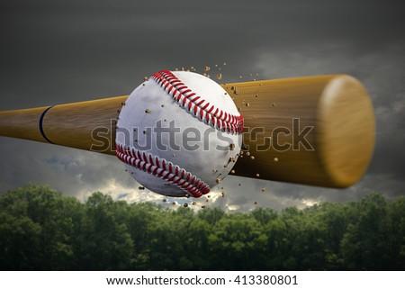 3d illustration of a baseball bat smashing a baseball ball - stock photo
