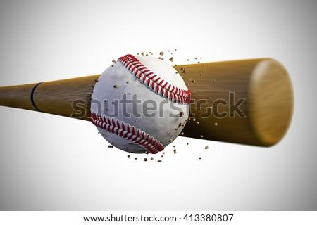 3d Illustration Of A Baseball Bat Smashing Ball