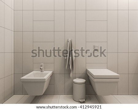 3D illustration of a bathroom interior design for children. Render bathroom picture displayed without textures and shaders - stock photo