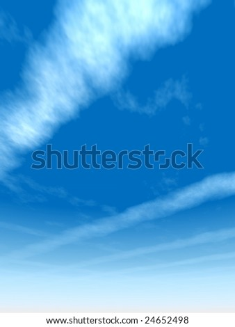 3D illustration of a beautiful blue natural sky with white clouds paradise cloudscape background for summer, spring season or for space, environment, freedom, meteorology, atmosphere, heaven, tranquil