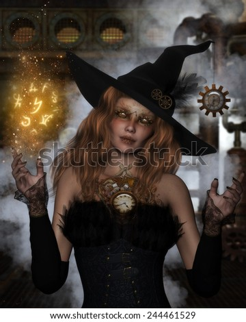3D illustration of a beautiful  redheaded Steampunk Witch with pipes, gears, steam and clocks in the background.