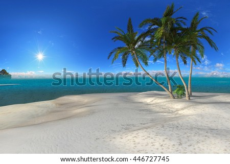 3d illustration of a beautiful tropical scene with palms, white sand and blue ocean - stock photo