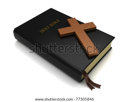 3D Illustration of a Bible and a Cross - stock photo