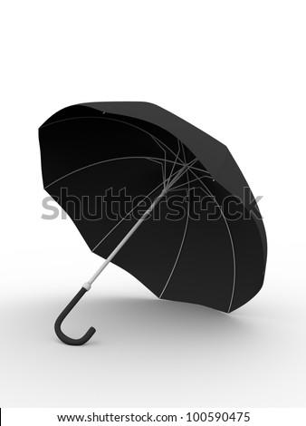 3d Illustration of a black umbrella. Meteorology concept - stock photo