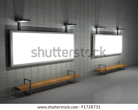 3d illustration of a blank advertising sign at night - stock photo