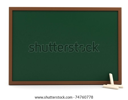 3D Illustration of a Blank Blackboard with Chalks