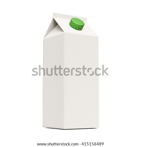 3d illustration of a blank milk container isolated on white background - stock photo