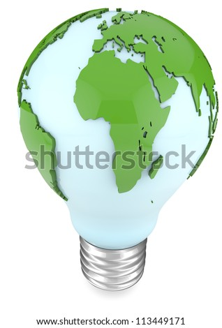 3d illustration of a blue bulb with world map around. - stock photo