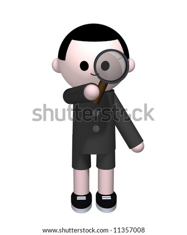 3D illustration of a boy holding a magnifying glass - stock photo
