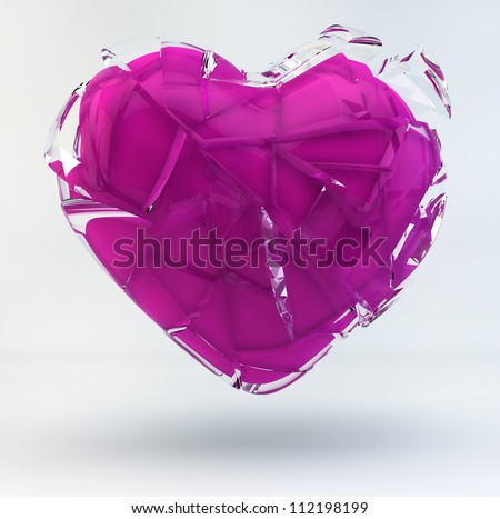 3D Illustration of a Broken Pink Heart covered with glass. - stock photo