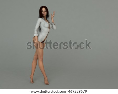 3d illustration of a brunette woman  posing in studio