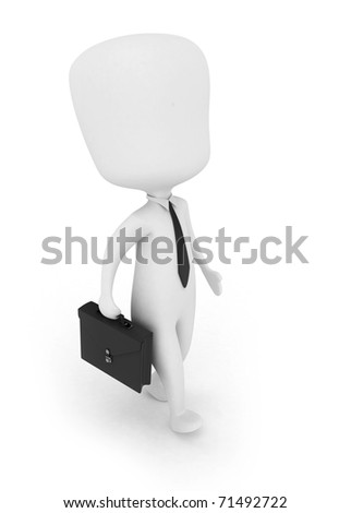 3D Illustration of a Businessman Carrying an Attache Case