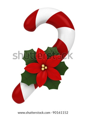 3D Illustration of a Candy Cane - stock photo