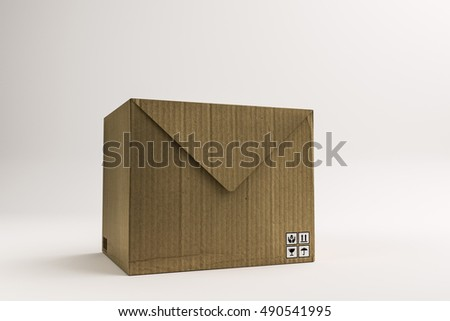 3d illustration of a cardboard envelope isolated on white background