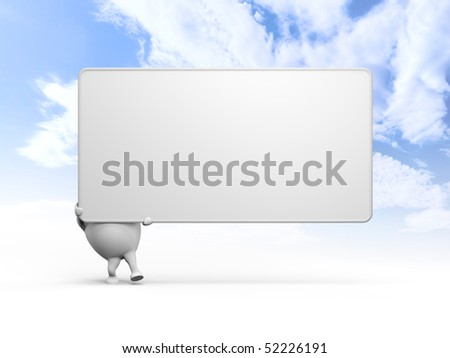 3D illustration of a cartoon character holding a large blank sign over blue sky background