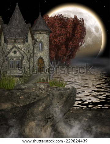 3D illustration of a Castle on a cliff with fall foliage and giant moon in the background reflected in the water.