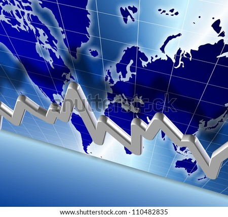 3d illustration of a chart and world map in the background / world economy chart