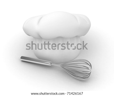 3D Illustration of a Chef's Hat and an Egg Beater - stock photo