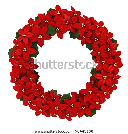 3D Illustration of a Christmas Wreath - stock photo