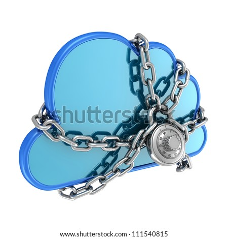 3D Illustration of a Cloud Secured with a Lock - stock photo