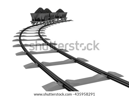 3D Illustration of a Coal trolleys - Isolated on white background - stock photo