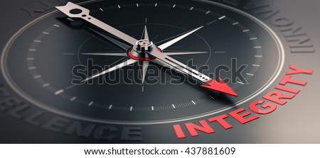 3D illustration of a compass over black background with needle pointing the word integrity. Concept image of company core values - stock photo