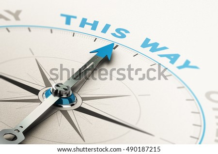 3D illustration of a compass with needle pointing the right way, good direction concept. Blue and brown tones