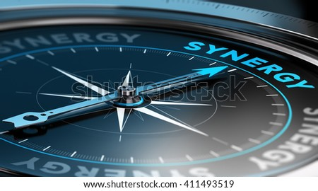 3D illustration of a compass with the needle pointing the word synergy. black background - stock photo